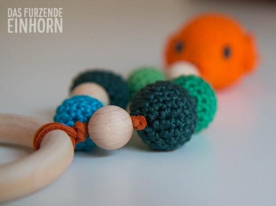 Crochet fish teething ring