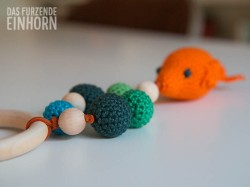 Crochet fishy teething ring