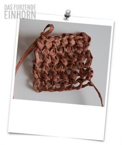 paper yarn worked in single crochets